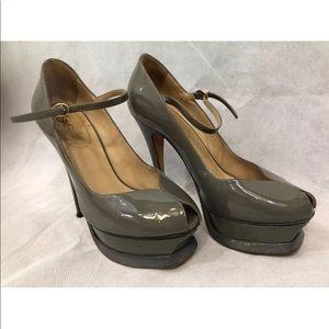 YSL Tribute Patent Leather gray 36.5 platform heel